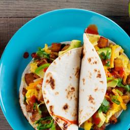 Breakfast Tacos with Homemade Chorizo, Crispy Potatoes, and Egg