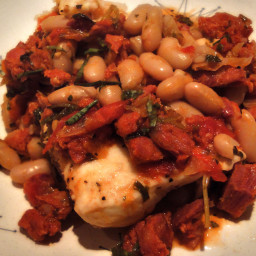 Heavenly Halibut with Chorizo & White Beans