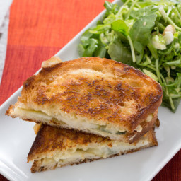 Brie and Pear Grilled Cheese Sandwicheswith Brussels Sprout, Arugula and Ha