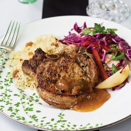 Brined Pork Rib Chops with Peach Chutney
