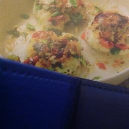 Broccoli, broad bean and feta risotto cakes