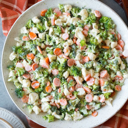 Broccoli Carrot and Cauliflower Coleslaw Salad