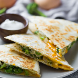 Broccoli Cheddar Breakfast Quesadillas