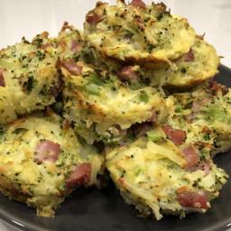 Broccoli Cheddar Ham Hash Brown Muffins
