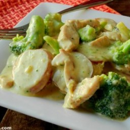 Broccoli, Chicken and Potato Parmesan