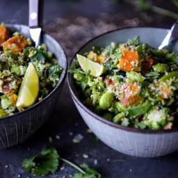 Broccoli cous cous med sød kartoffel og edamamebønner