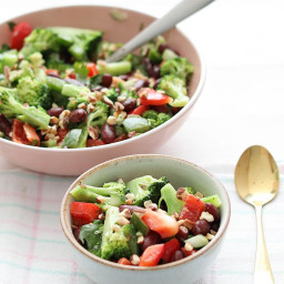 Broccoli Salad with Kidney Beans and Bell Pepper