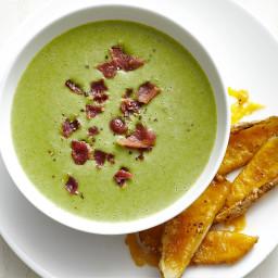 Broccoli Soup with Cheddar Potato Skins