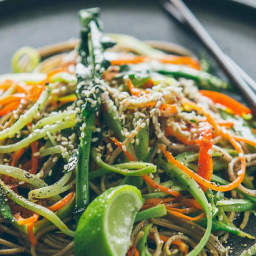 Broccoli stem noodles with snow peas and Japanese dressing