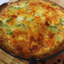 Broccoli and Corn Quiche with a Herb and Onion Rice Crust