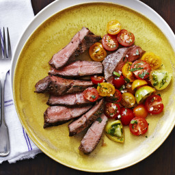 Broiled Top Blade Steak with Herb-Flecked Tomato Salad