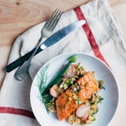Broiled Salmon with Fennel and Radish Risotto