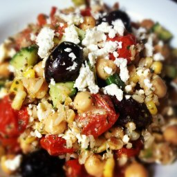 Brown Rice Greek Salad with Roasted Tomatoes