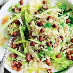 Brown rice salad with borlotti beans and celery
