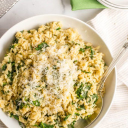 Brown rice with spinach and Parmesan cheese