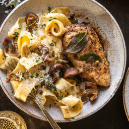 Browned Sage Butter Chicken Piccata with Mushroom Pasta