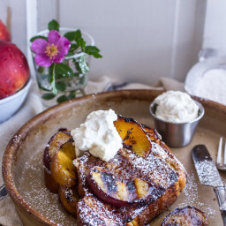 Brown Sugar + Kahlúa Grilled Peaches and Cream French Toast