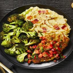 Bruschetta Chicken with a Crispy Mozzarella Crust, Bacon Mashed Potatoes &