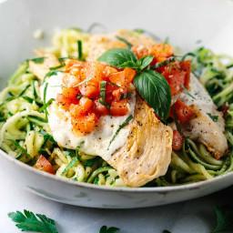 Bruschetta Chicken with Zucchini Noodles