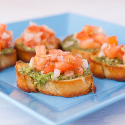 Bruschetta With Pesto, Tomatoes and Thingies.