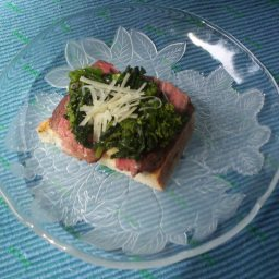 Bruschetta with Steak, Broccoli Rabe and Cheese