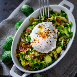 Brussel Sprout Hash w/ Soft Poached Eggs and Aleppo Chili Pepper