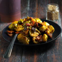Brussel Sprout Side Dish with Bacon and Honey