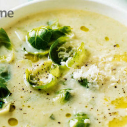 Brussels sprout and cheddar soup