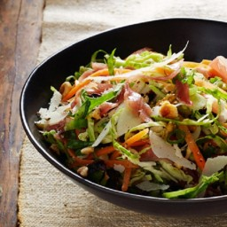 Brussels Sprouts & Prosciutto Slaw with Hazelnut Dressing