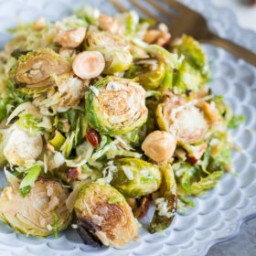 Brussels Sprouts Salad with Hazelnuts, Parmesan, and Pomegranate Molasses V