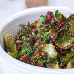 Brussels Sprouts with Pomegranates and Pistachios