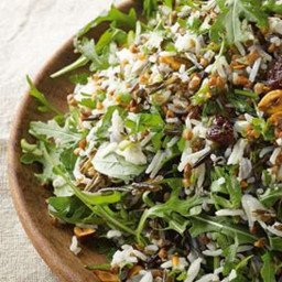 Buckwheat and rice salad with dried cherries and hazelnuts
