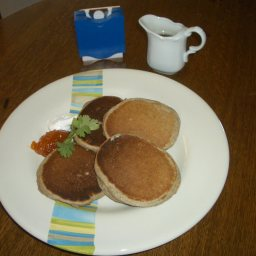 Buckwheat Pancakes with Apricot Jam and Sour Cream