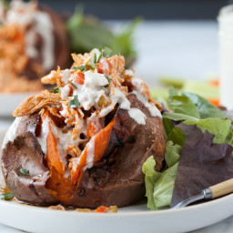Buffalo Chicken Stuffed Sweet Potatoes with Blue Cheese Dressing