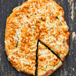 Buffalo Chickpea Pizza with White Garlic Sauce and Celery Ranch Dressing