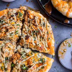 Buffalo Roasted Cauliflower Skillet Pizza with Chipotle Blue Cheese Avocado