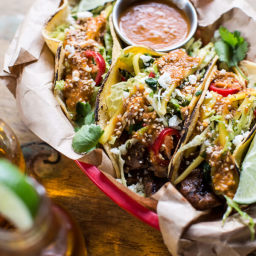 Bulgogi BBQ Pork Tacos with Charred Tomatillo Sesame Sauce + Spring Onion S