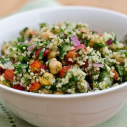 Bulgur Salad with Cucumbers, Red Peppers, Chick Peas, Lemon and Dill