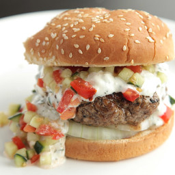 Burgers with Creamy Feta Sauce & Tomato Cucumber Relish