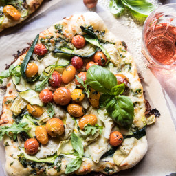 Burst Cherry Tomato, Artichoke, and Zucchini Pesto Pizza