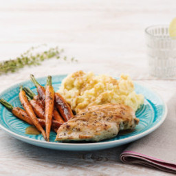 Butter-Basted Chicken with Cacio e Pepe Mashed Potatoes and Thyme-Roasted C