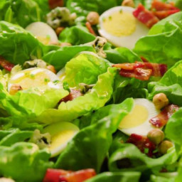 Butter Lettuce Salad with Hazelnuts and Bacon Bits