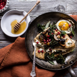 Buttered Hazelnut Crepes with Caramelized Wild Mushrooms, Kale and Pomegran