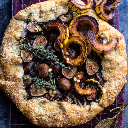 Buttered Mushroom, Fig and Bacon Galette with Roasted Squash.