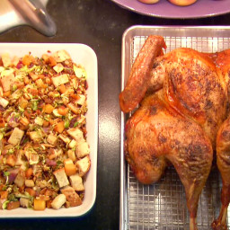 Butterflied, Dry Brined Roasted Turkey with Roasted Root Vegetable Panzanel