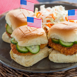 Buttermilk Fried Chicken Sliders with Homemade Pickles & Coleslaw