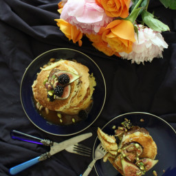 Buttermilk Pancakes with Fig, Blackberries and Pistachio