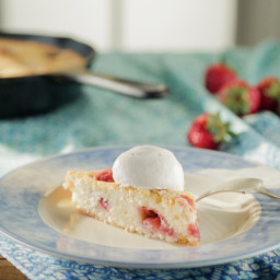 Buttermilk Strawberry Skillet Cake with Strawberry Whipped Cream and Jerry'