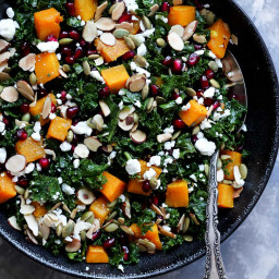 Butternut Squash and Kale Salad with Pomegranate, Toasted Almonds + Goat Ch