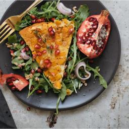 Butternut Squash Farinata With Arugula Salad and Pomegranate Vinaigrette